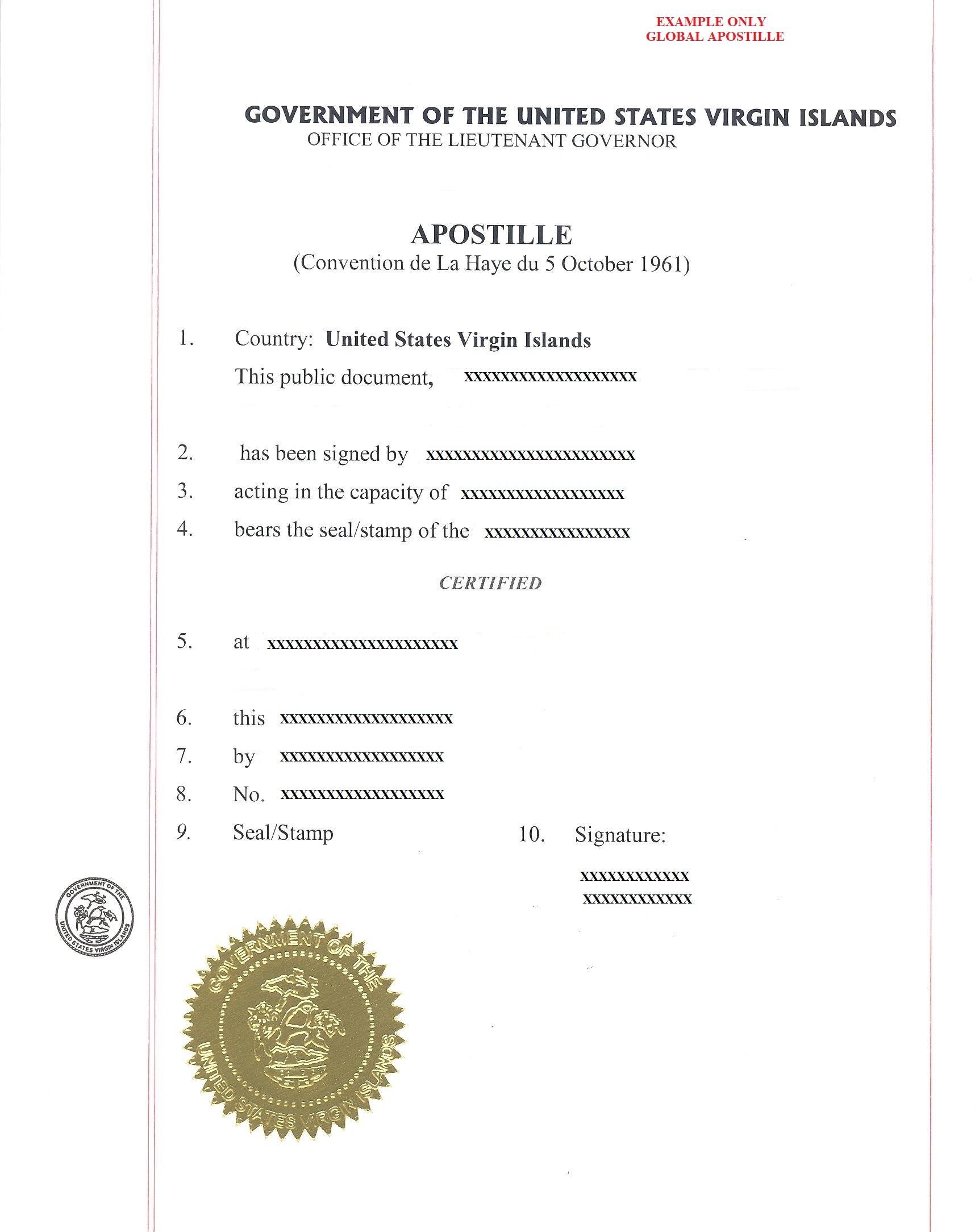 apostille US Virgin islands, апостиль виргинские острова
