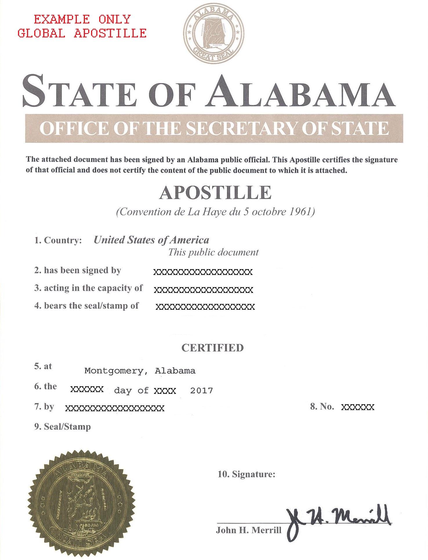alabama apostille, апостиль в алабаме