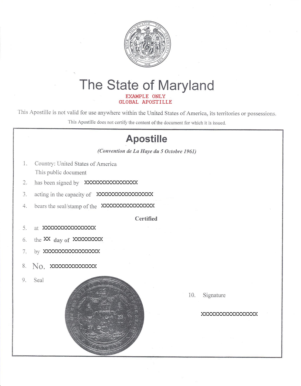 apostille maryland, апостиль в мерилэнд