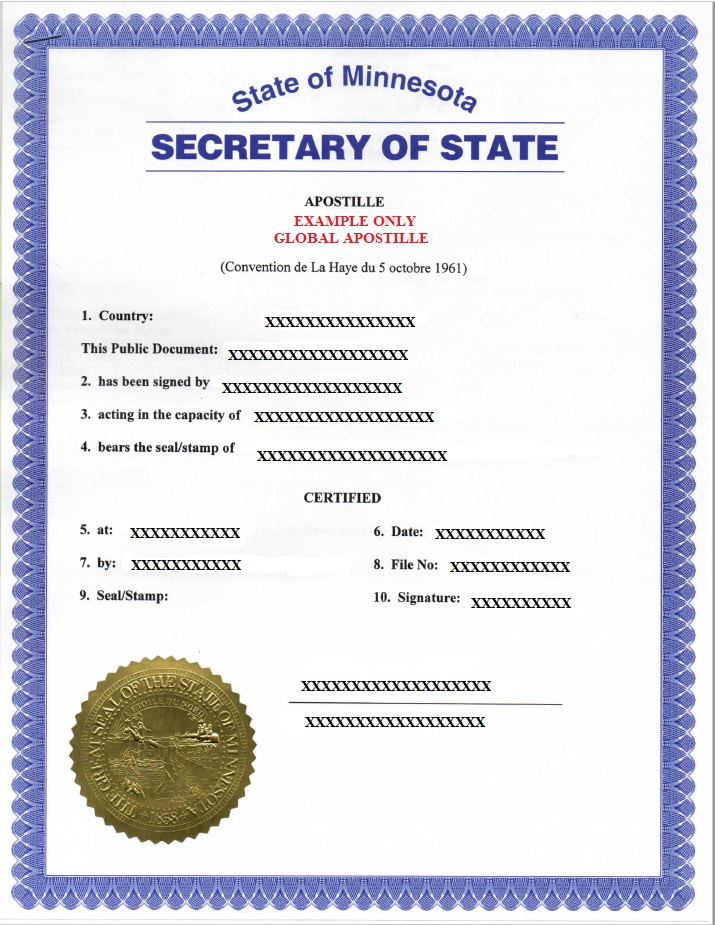 state of minnesota apostille, how to get apostille in minnesota