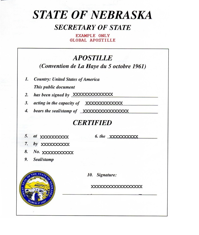 State Of Nebraska Apostille How To Get Apostille In Nebraska