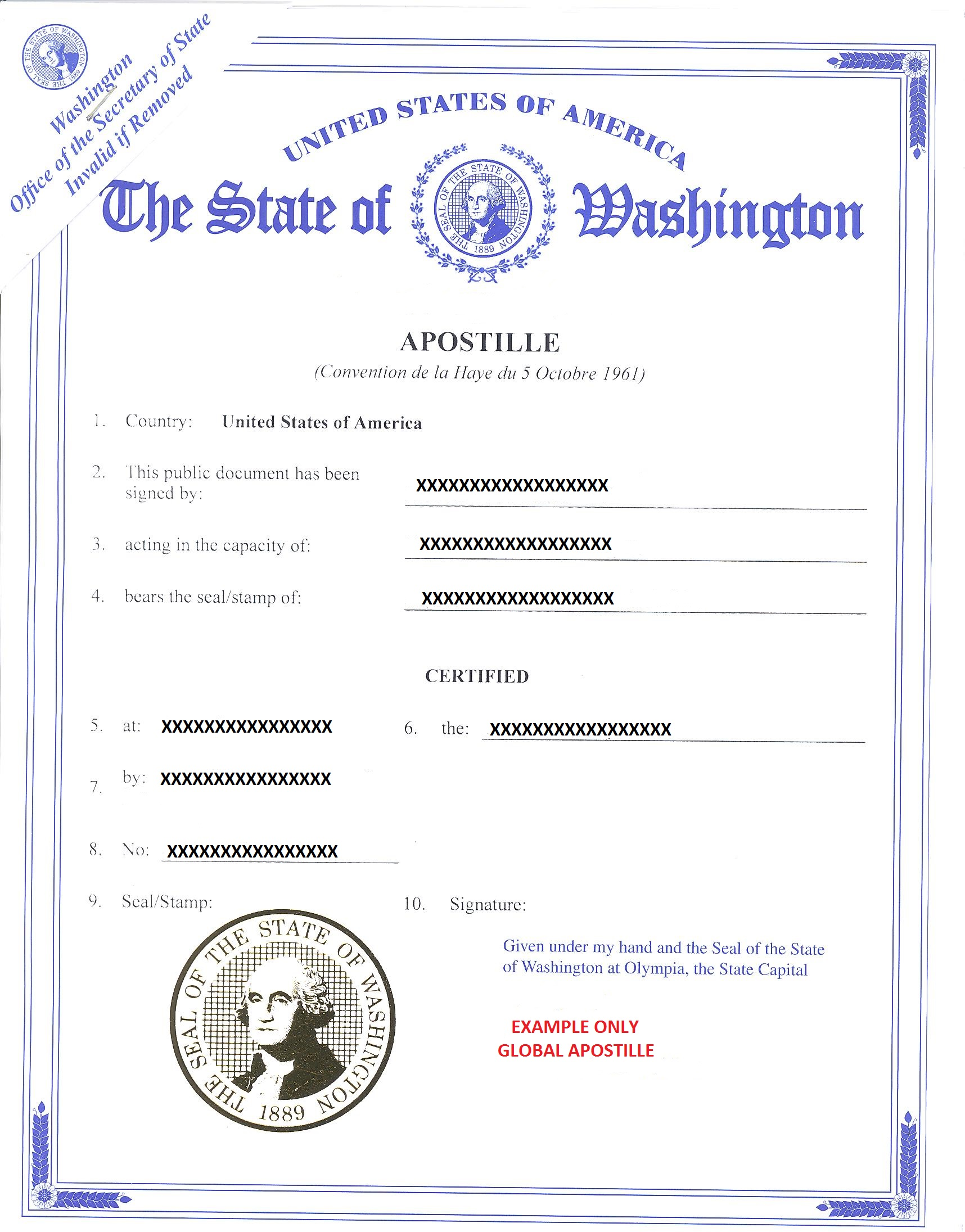 APOSTILLE WASHINGTON, АПОСТИЛЬ В ВАШИНГТОНЕ